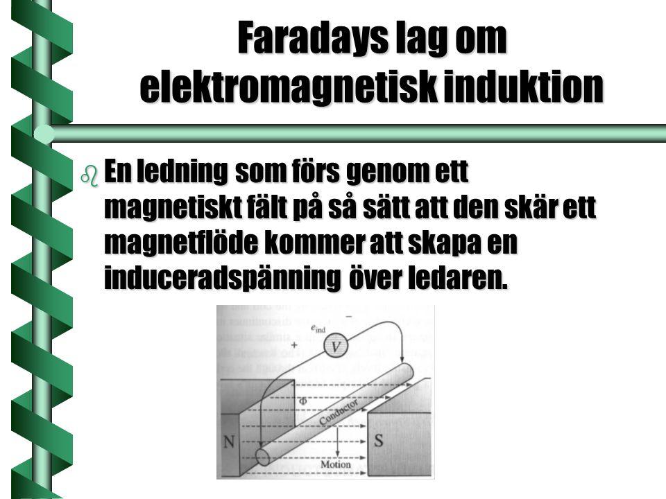 Faradays lag om elektromagnetisk induktion b En ledning som förs genom ett magnetiskt fält på så sätt att den skär ett magnetflöde kommer att skapa en induceradspänning över ledaren.