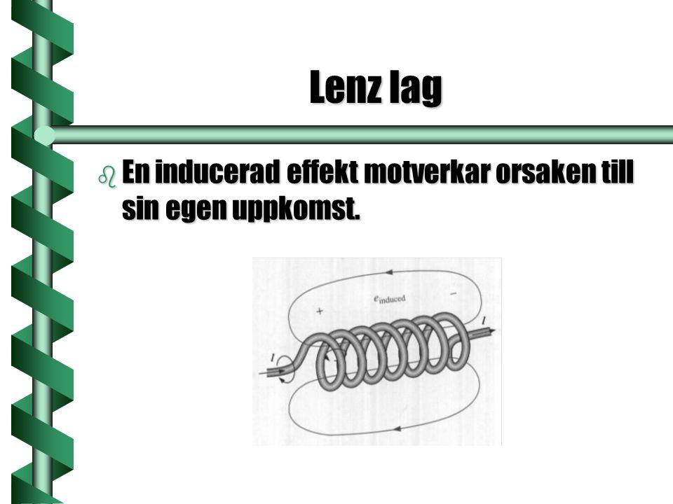 Lenz lag b En inducerad effekt motverkar orsaken till sin egen uppkomst.