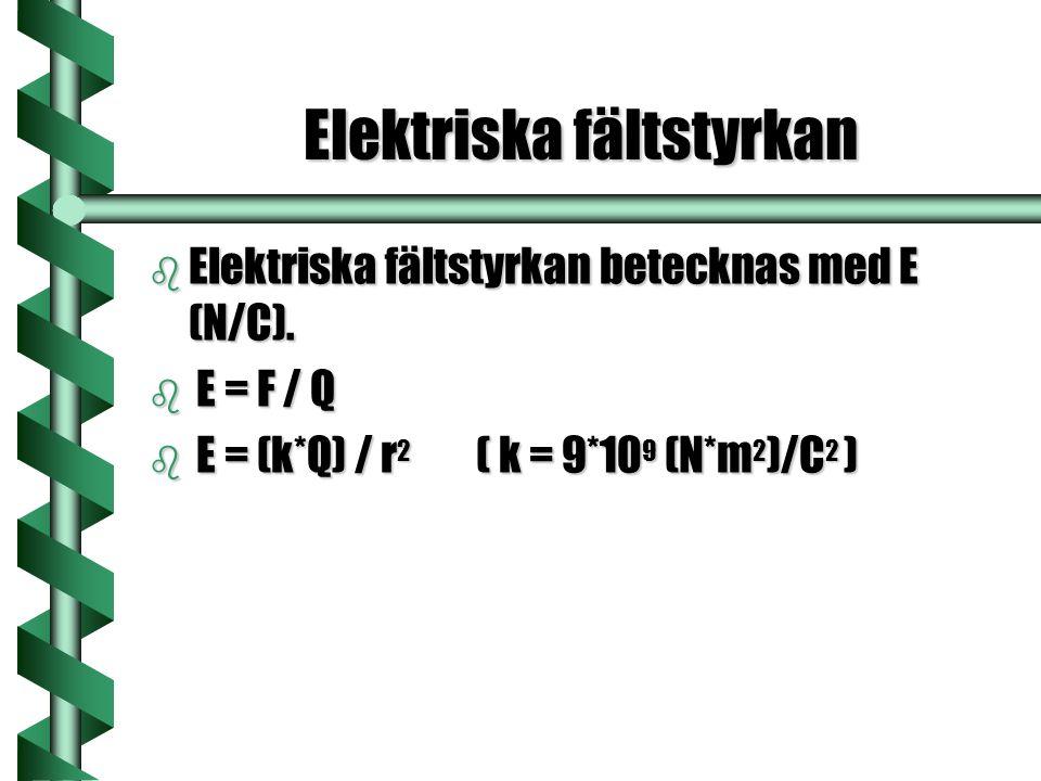 Elektriska fältstyrkan b Elektriska fältstyrkan betecknas med E (N/C). b E = F / Q b E = (k*Q) / r 2 ( k = 9*10 9 (N*m 2 )/C 2 )