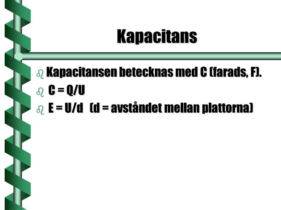 Kapacitans b Kapacitansen betecknas med C (farads, F). b C = Q/U b E = U/d (d = avståndet mellan plattorna)
