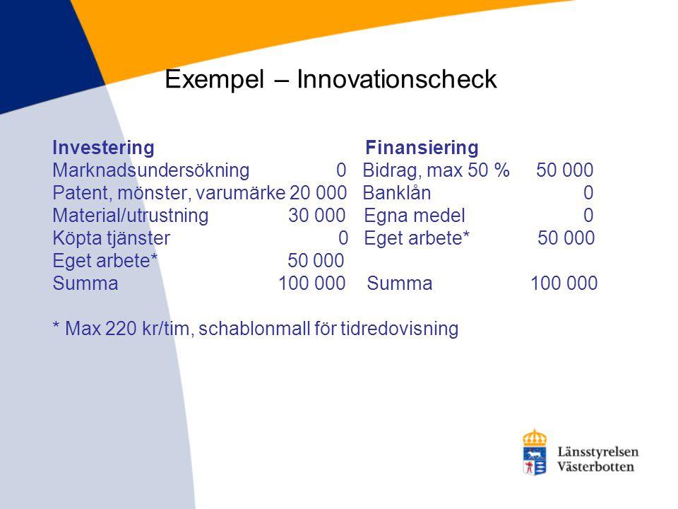 Exempel – Innovationscheck Investering Finansiering Marknadsundersökning 0 Bidrag, max 50 % 50 000 Patent, mönster, varumärke 20 000 Banklån 0 Materia