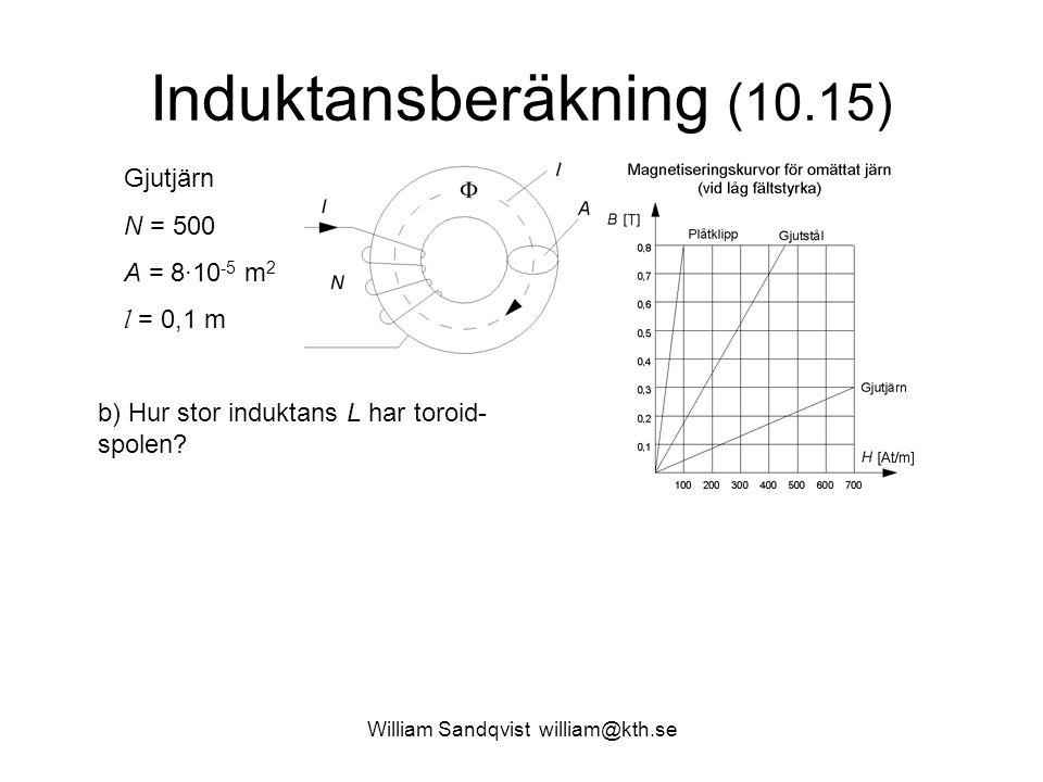 Induktansberäkning (10.15) Gjutjärn N = 500 A = 8·10 -5 m 2 l = 0,1 m b) Hur stor induktans L har toroid- spolen?