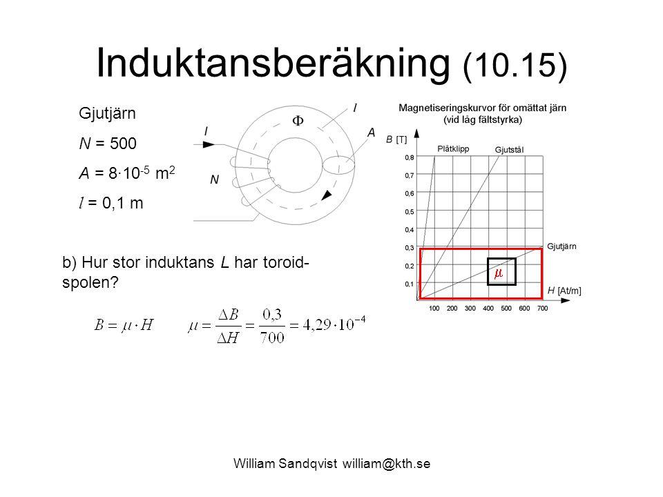 William Sandqvist william@kth.se Induktansberäkning (10.15) Gjutjärn N = 500 A = 8·10 -5 m 2 l = 0,1 m  b) Hur stor induktans L har toroid- spolen?