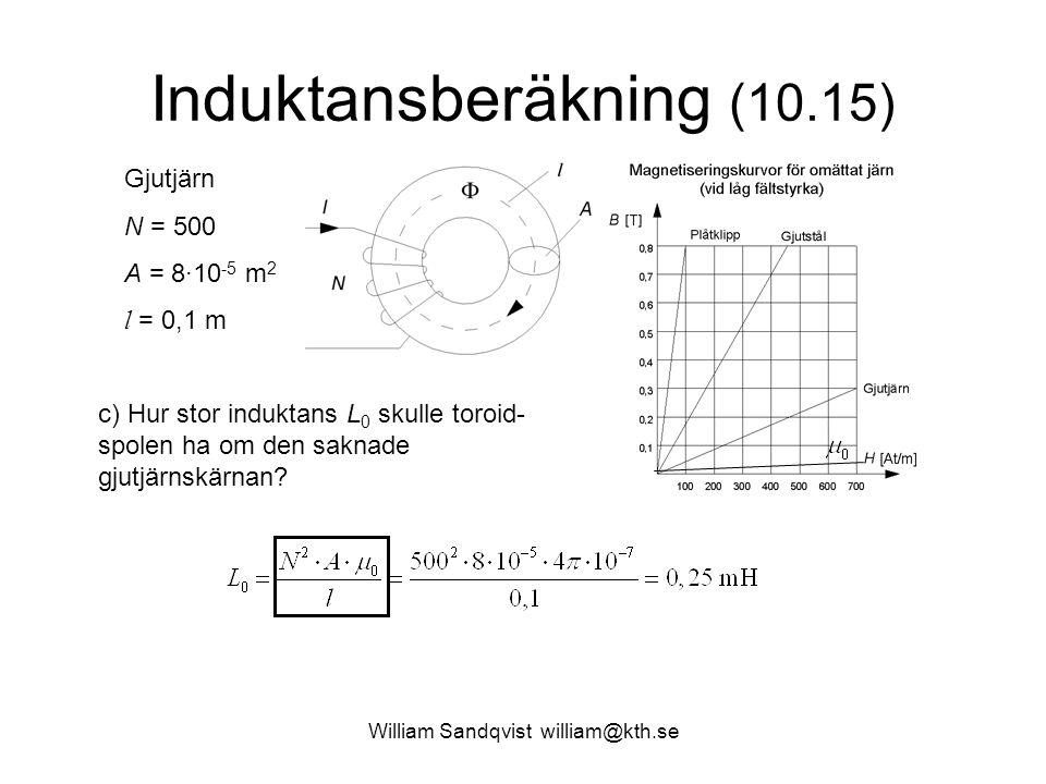 William Sandqvist william@kth.se Induktansberäkning (10.15) Gjutjärn N = 500 A = 8·10 -5 m 2 l = 0,1 m c) Hur stor induktans L 0 skulle toroid- spolen