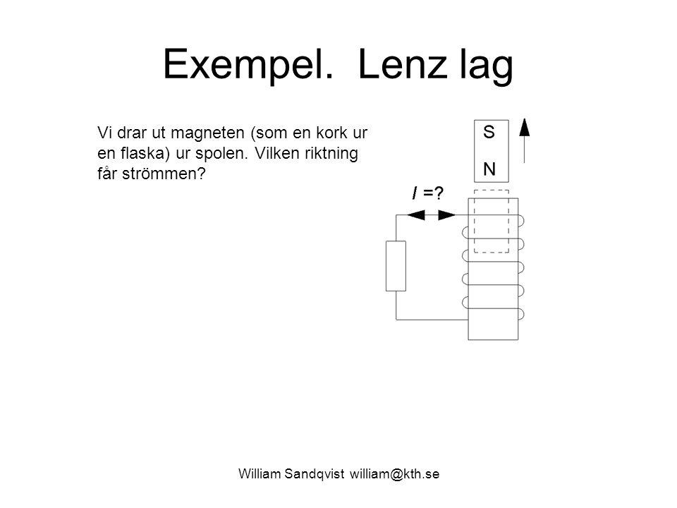 Exempel. Lenz lag Vi drar ut magneten (som en kork ur en flaska) ur spolen. Vilken riktning får strömmen?