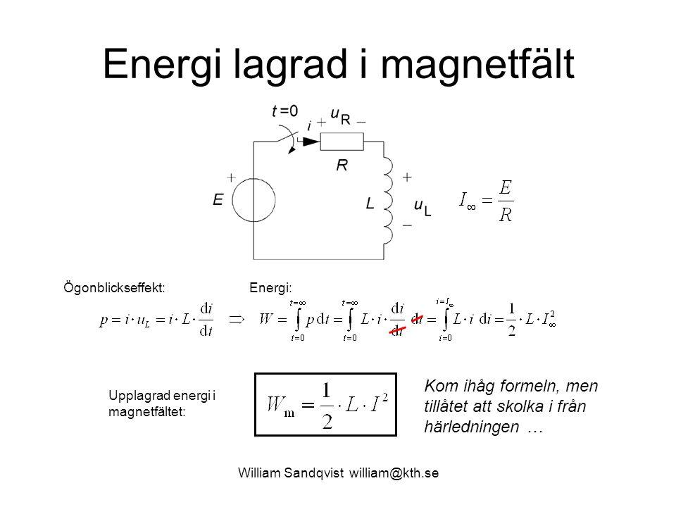 William Sandqvist william@kth.se Energi lagrad i magnetfält Ögonblickseffekt:Energi: Upplagrad energi i magnetfältet: Kom ihåg formeln, men tillåtet a