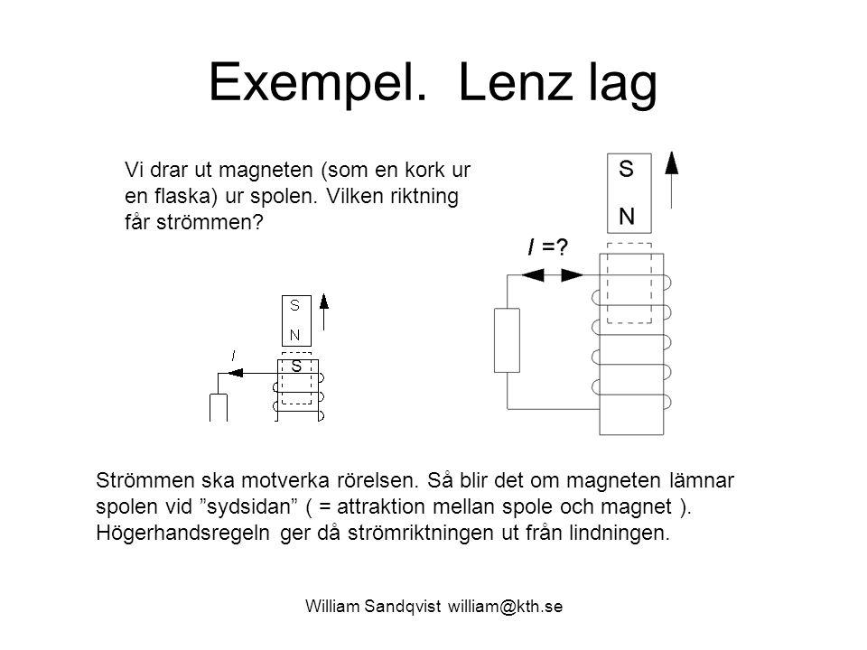 William Sandqvist william@kth.se Exempel. Lenz lag Vi drar ut magneten (som en kork ur en flaska) ur spolen. Vilken riktning får strömmen? Strömmen sk