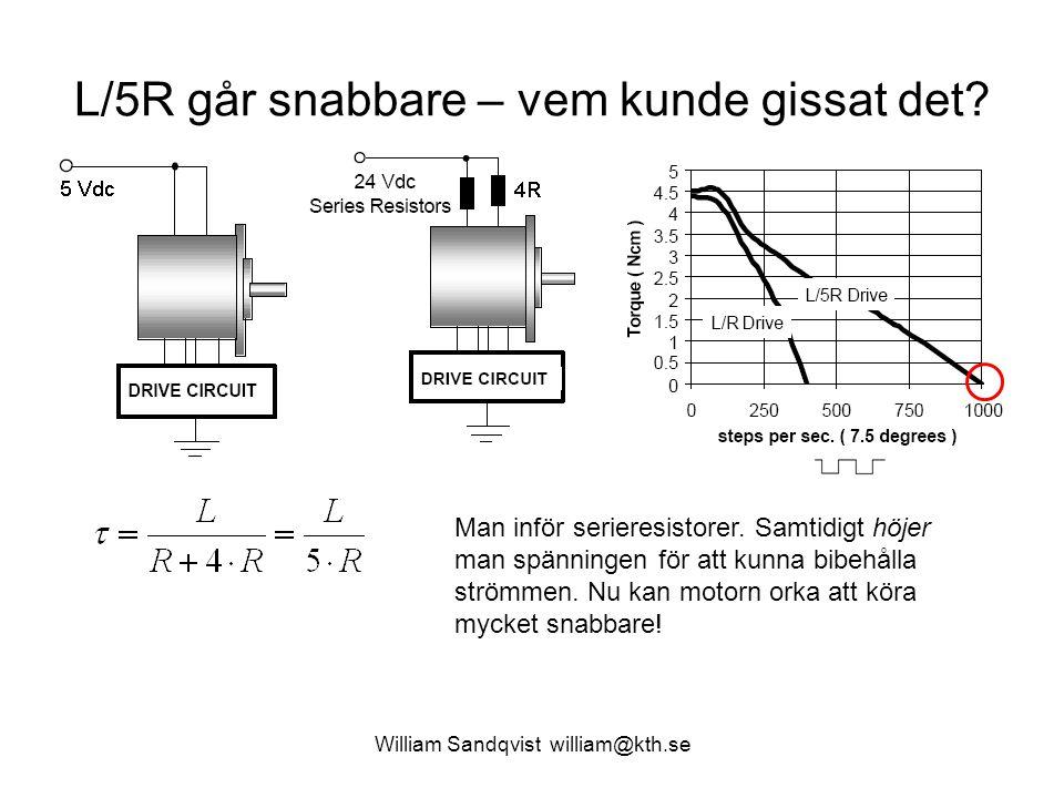 William Sandqvist william@kth.se L/5R går snabbare – vem kunde gissat det? Man inför serieresistorer. Samtidigt höjer man spänningen för att kunna bib