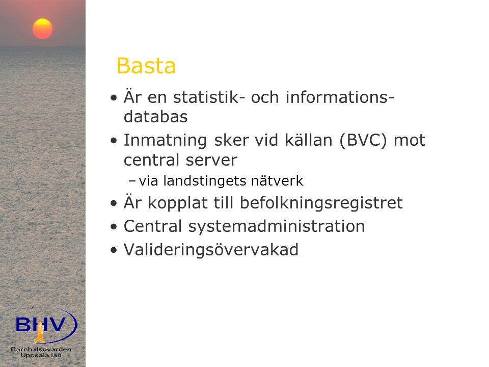 Basta •Är en statistik- och informations- databas •Inmatning sker vid källan (BVC) mot central server –via landstingets nätverk •Är kopplat till befolkningsregistret •Central systemadministration •Valideringsövervakad