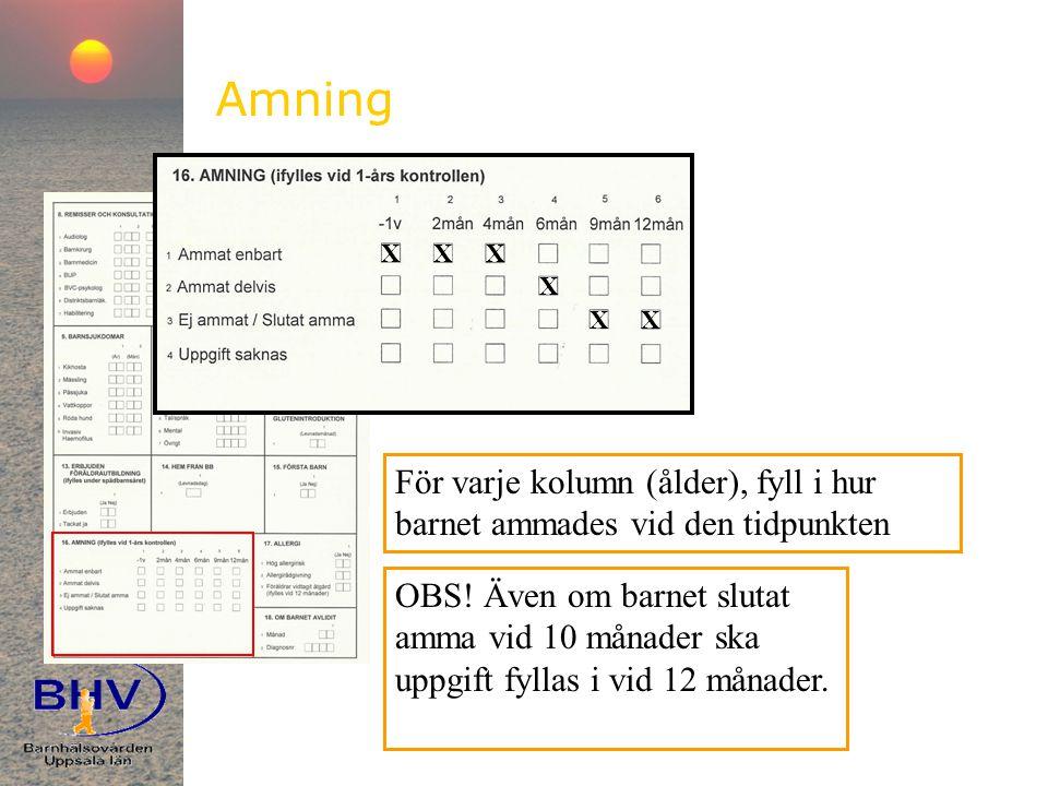 Amning För varje kolumn (ålder), fyll i hur barnet ammades vid den tidpunkten XXX X XX OBS.