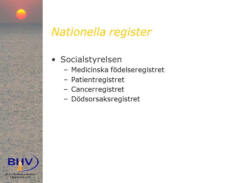 Nationella register •Socialstyrelsen –Medicinska födelseregistret –Patientregistret –Cancerregistret –Dödsorsaksregistret
