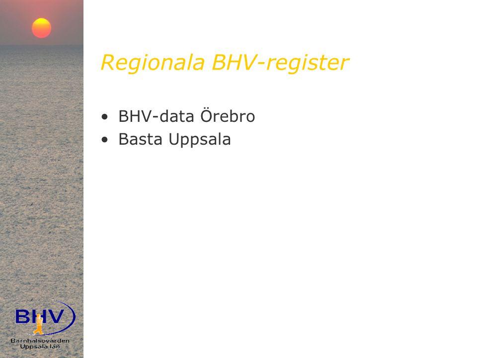 Regionala BHV-register •BHV-data Örebro •Basta Uppsala