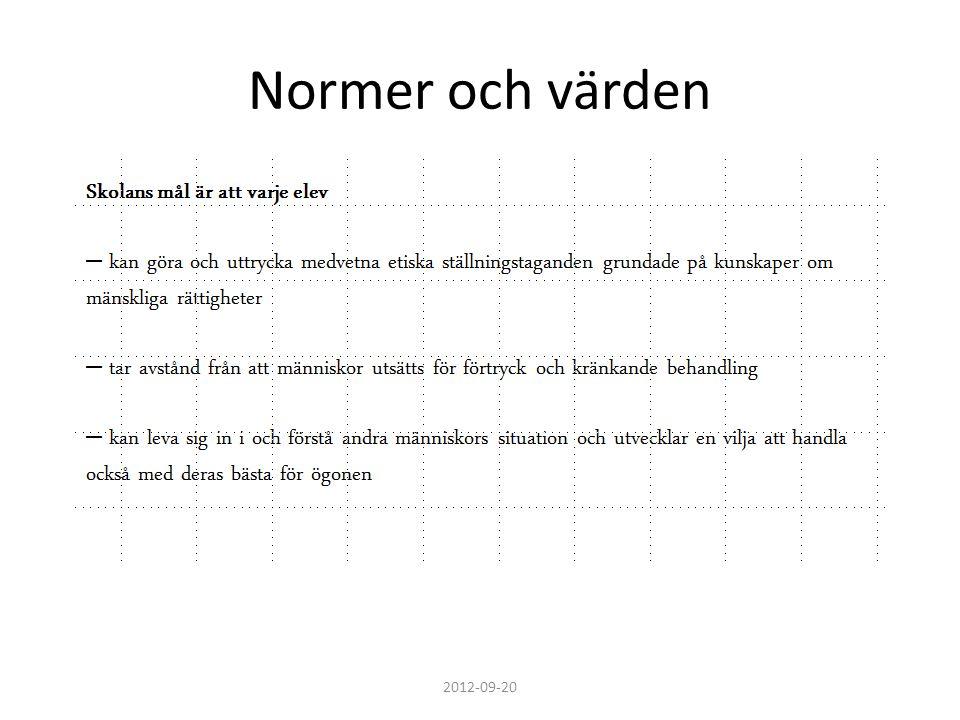 Normer och värden 2012-09-20