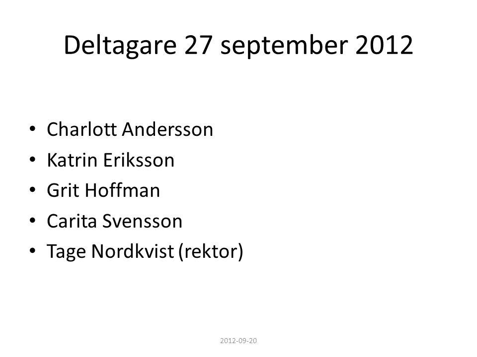 Deltagare 27 september 2012 • Charlott Andersson • Katrin Eriksson • Grit Hoffman • Carita Svensson • Tage Nordkvist (rektor) 2012-09-20