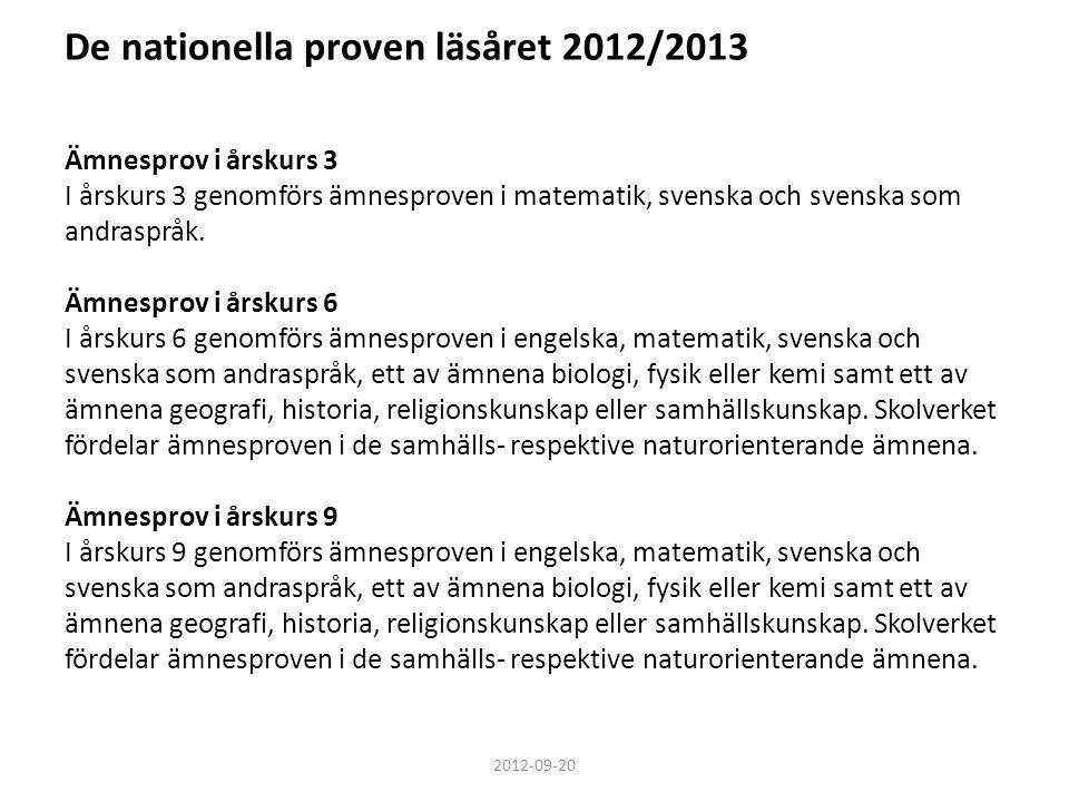 De nationella proven läsåret 2012/2013 Ämnesprov i årskurs 3 I årskurs 3 genomförs ämnesproven i matematik, svenska och svenska som andraspråk. Ämnesp