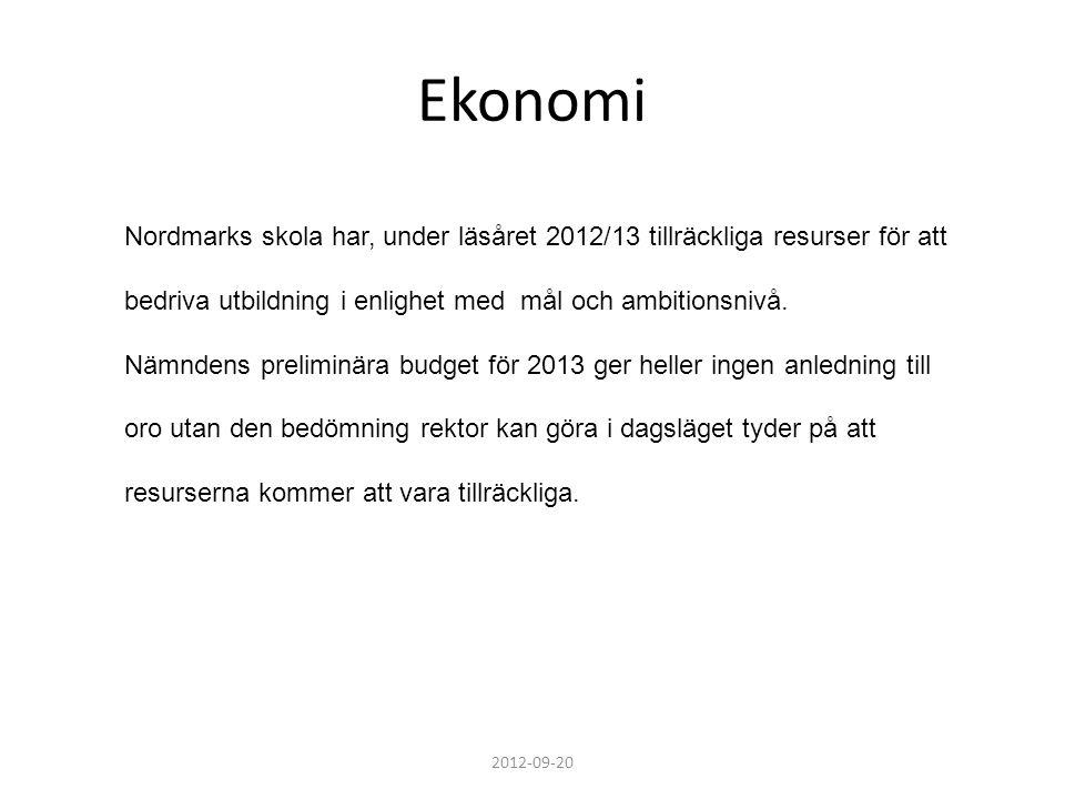 Ekonomi 2012-09-20 Nordmarks skola har, under läsåret 2012/13 tillräckliga resurser för att bedriva utbildning i enlighet med mål och ambitionsnivå. N