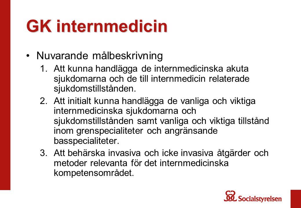 GK internmedicin •Nuvarande målbeskrivning 1.Att kunna handlägga de internmedicinska akuta sjukdomarna och de till internmedicin relaterade sjukdomstillstånden.