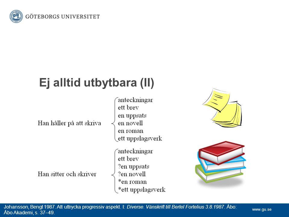 www.gu.se Ej alltid utbytbara (II) Johansson, Bengt 1987. Att uttrycka progressiv aspekt. I: Diverse. Vänskrift till Bertel Fortelius 3.8.1987. Åbo: Å