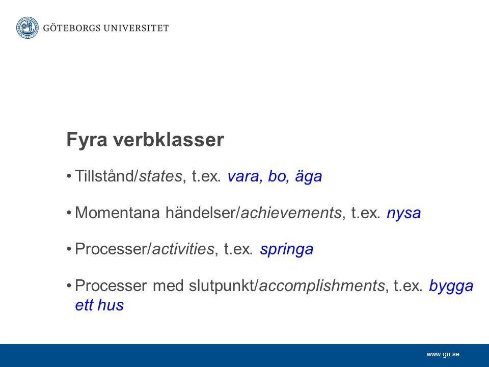 www.gu.se •Tillstånd/states, t.ex. vara, bo, äga •Momentana händelser/achievements, t.ex. nysa •Processer/activities, t.ex. springa •Processer med slu