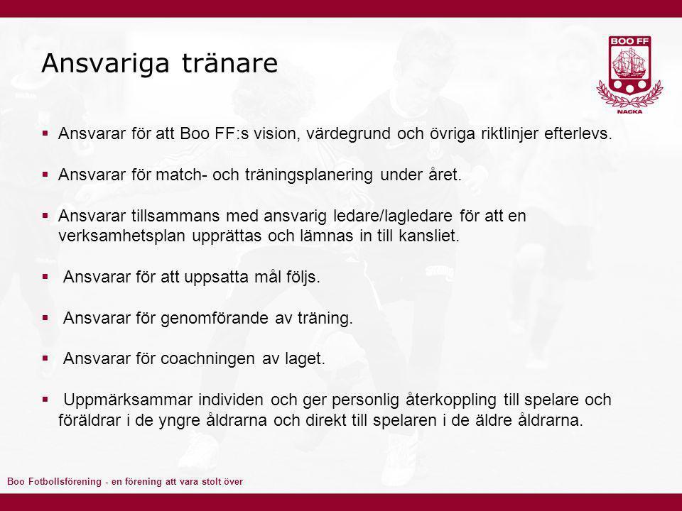 Boo Fotbollsförening - en förening att vara stolt över Ansvariga tränare  Ansvarar för att Boo FF:s vision, värdegrund och övriga riktlinjer efterlevs.