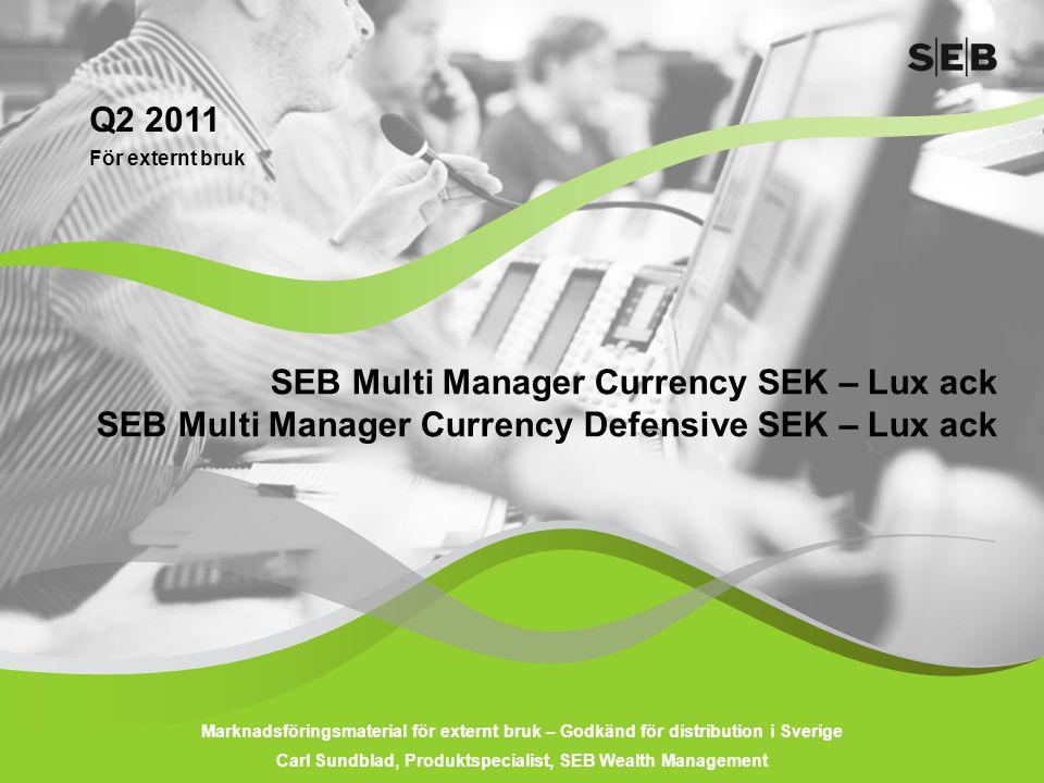 1 SEB Multi Manager Currency SEK – Lux ack SEB Multi Manager Currency Defensive SEK – Lux ack Q2 2011 För externt bruk Carl Sundblad, Produktspecialis