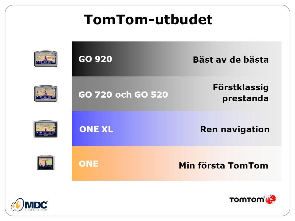 TomTom-utbudet Förstklassig prestanda Ren navigation Min första TomTom ONE ONE XL GO 720 och GO 520 Bäst av de bästa GO 920