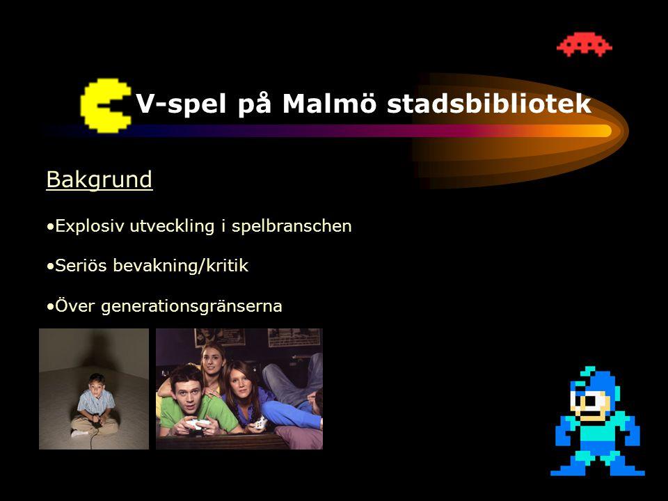 TV-spel på Malmö stadsbibliotek Bakgrund •Explosiv utveckling i spelbranschen •Seriös bevakning/kritik •Över generationsgränserna