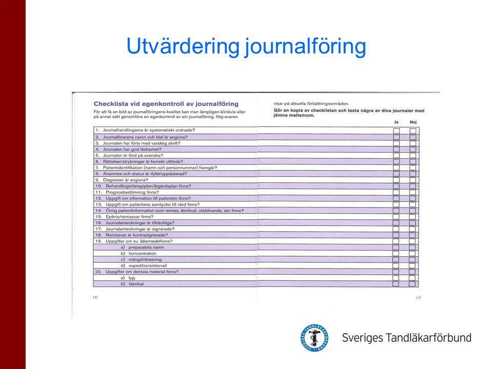 Utvärdering journalföring