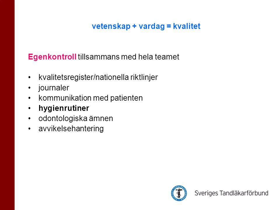 Egenkontroll tillsammans med hela teamet •kvalitetsregister/nationella riktlinjer •journaler •kommunikation med patienten •hygienrutiner •odontologiska ämnen •avvikelsehantering vetenskap + vardag = kvalitet