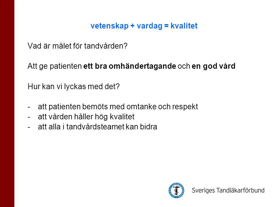 Egenkontroll tillsammans med hela teamet Svenskt kvalitetsregister för karies och parodontit www.skapa@liv.sewww.skapa@liv.se Presentation på OR 2011 18/11 Nationella riktlinjer för tandvården Socialstyrelsen utarbetar dessa på uppdrag av regeringen.