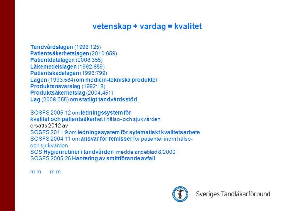 Tandvårdslagen (1998:125) Patientsäkerhetslagen (2010:659) Patientdatalagen (2008:355) Läkemedelslagen (1992:859) Patientskadelagen (1996:799) Lagen (1993:584) om medicin-tekniska produkter Produktansvarslag (1992:18) Produktsäkerhetslag (2004:451) Lag (2008:355) om statligt tandvårdsstöd SOSFS 2005:12 om ledningssystem för kvalitet och patientsäkerhet i hälso- och sjukvården ersätts 2012 av SOSFS 2011:9 om ledningssystem för sytematiskt kvalitetsarbete SOSFS 2004:11 om ansvar för remisser för patienter inom hälso- och sjukvården SOS Hygienrutiner i tandvården meddelandeblad 8/2000 SOSFS 2005:26 Hantering av smittförande avfall m m vetenskap + vardag = kvalitet