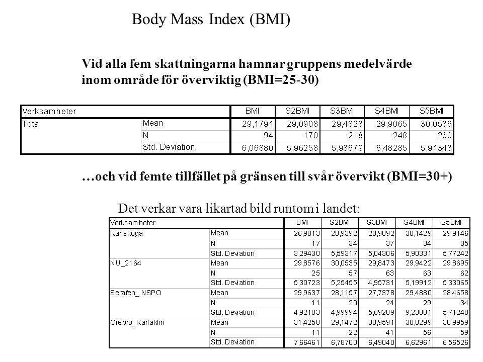 Body Mass Index (BMI) Vid alla fem skattningarna hamnar gruppens medelvärde inom område för överviktig (BMI=25-30) …och vid femte tillfället på gränse