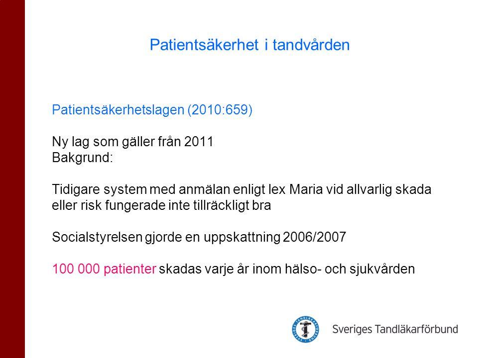 Patientsäkerhetslagen (2010:659) Ny lag som gäller från 2011 Bakgrund: Tidigare system med anmälan enligt lex Maria vid allvarlig skada eller risk fungerade inte tillräckligt bra Socialstyrelsen gjorde en uppskattning 2006/2007 100 000 patienter skadas varje år inom hälso- och sjukvården Patientsäkerhet i tandvården