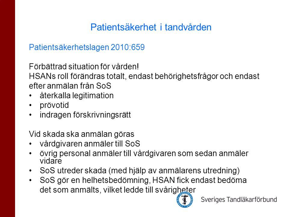 Patientsäkerhetslagen 2010:659 Förbättrad situation för vården! HSANs roll förändras totalt, endast behörighetsfrågor och endast efter anmälan från So