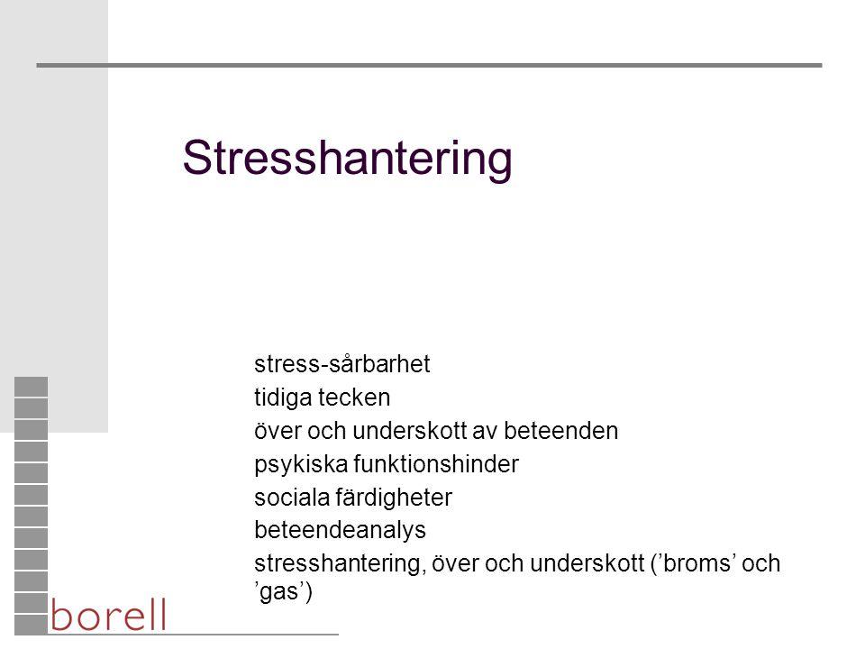 Stresshantering stress-sårbarhet tidiga tecken över och underskott av beteenden psykiska funktionshinder sociala färdigheter beteendeanalys stresshant