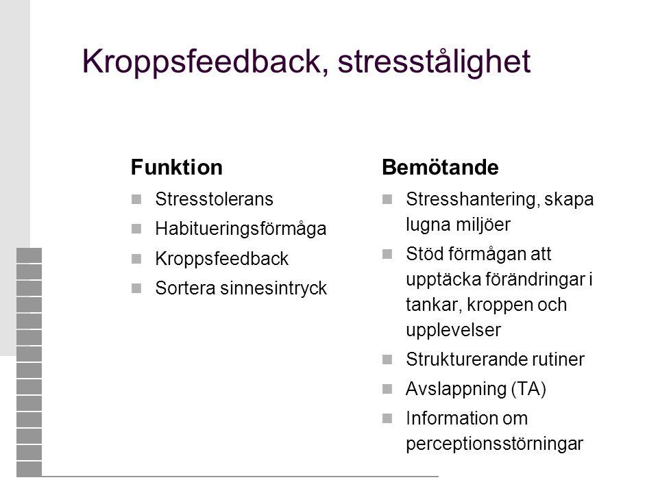 Kroppsfeedback, stresstålighet Funktion  Stresstolerans  Habitueringsförmåga  Kroppsfeedback  Sortera sinnesintryck Bemötande  Stresshantering, s