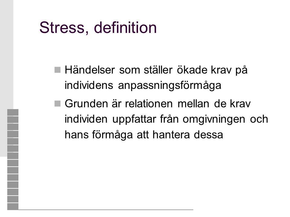 Stress, definition  Händelser som ställer ökade krav på individens anpassningsförmåga  Grunden är relationen mellan de krav individen uppfattar från
