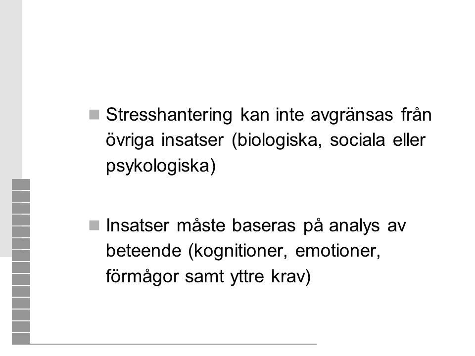  Stresshantering kan inte avgränsas från övriga insatser (biologiska, sociala eller psykologiska)  Insatser måste baseras på analys av beteende (kog