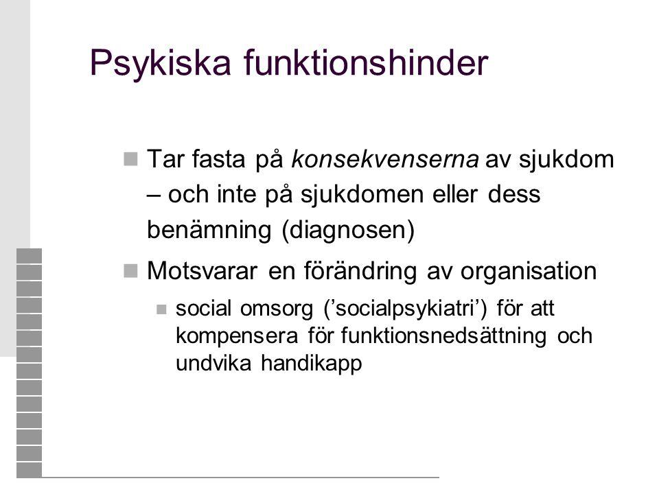 Psykiska funktionshinder  Tar fasta på konsekvenserna av sjukdom – och inte på sjukdomen eller dess benämning (diagnosen)  Motsvarar en förändring a