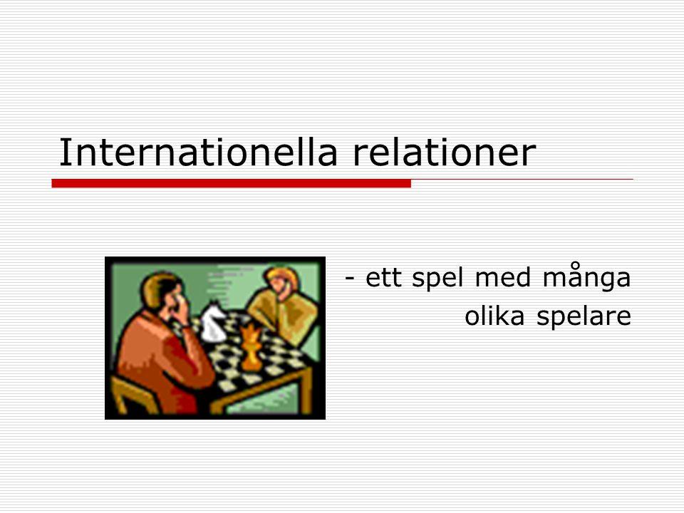 Internationella relationer - ett spel med många olika spelare