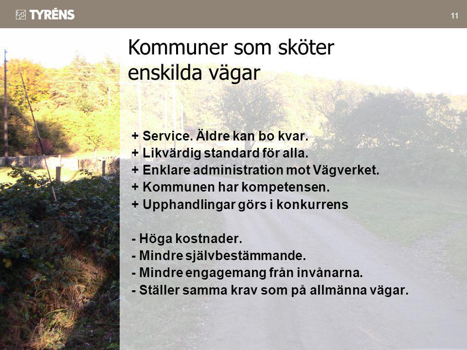 11 + Service. Äldre kan bo kvar. + Likvärdig standard för alla. + Enklare administration mot Vägverket. + Kommunen har kompetensen. + Upphandlingar gö