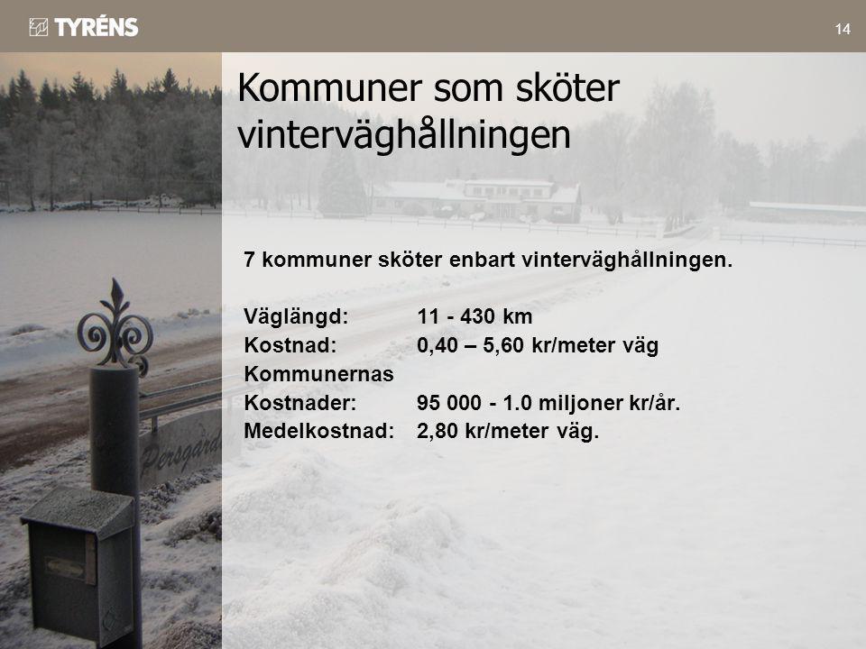 14 7 kommuner sköter enbart vinterväghållningen. Väglängd:11 - 430 km Kostnad:0,40 – 5,60 kr/meter väg Kommunernas Kostnader:95 000 - 1.0 miljoner kr/