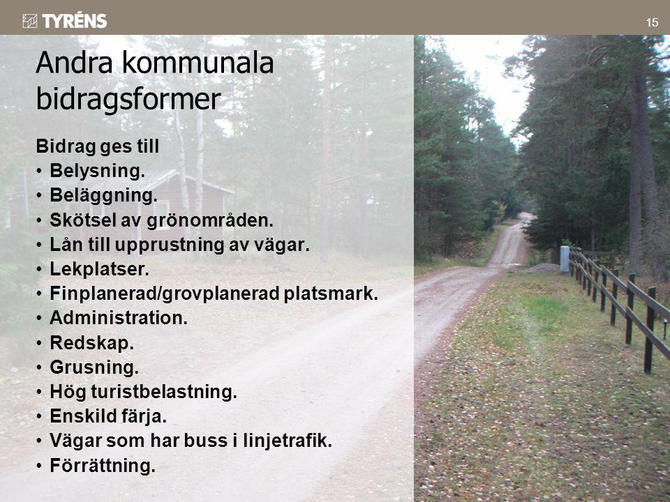 15 Bidrag ges till •Belysning. •Beläggning. •Skötsel av grönområden. •Lån till upprustning av vägar. •Lekplatser. •Finplanerad/grovplanerad platsmark.