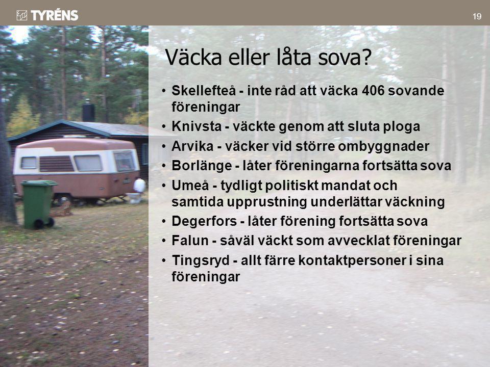 19 •Skellefteå - inte råd att väcka 406 sovande föreningar •Knivsta - väckte genom att sluta ploga •Arvika - väcker vid större ombyggnader •Borlänge -