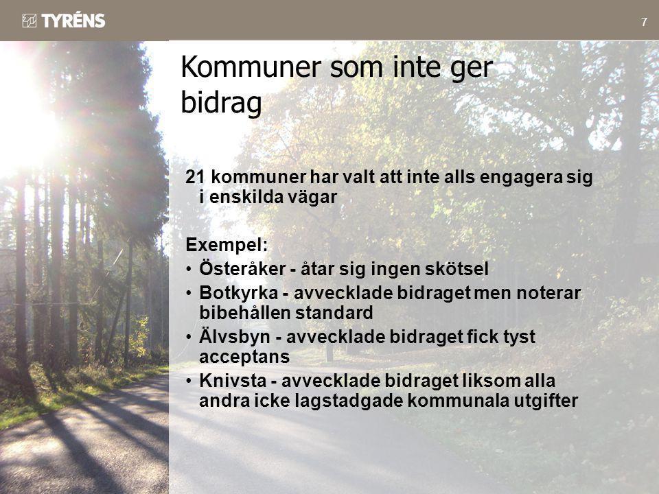 7 21 kommuner har valt att inte alls engagera sig i enskilda vägar Exempel: •Österåker - åtar sig ingen skötsel •Botkyrka - avvecklade bidraget men no