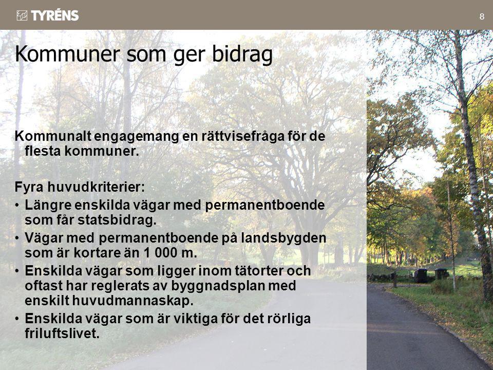 8 Kommunalt engagemang en rättvisefråga för de flesta kommuner. Fyra huvudkriterier: •Längre enskilda vägar med permanentboende som får statsbidrag. •
