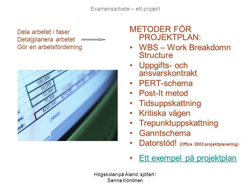 Högskolan på Åland, sjöfart / Sanna Könönen Examensarbete – ett projekt METODER FÖR PROJEKTPLAN: •WBS – Work Breakdomn Structure •Uppgifts- och ansvar