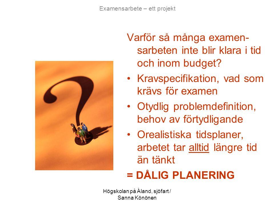 Högskolan på Åland, sjöfart / Sanna Könönen Examensarbete – ett projekt Varför så många examen- sarbeten inte blir klara i tid och inom budget? •Kravs