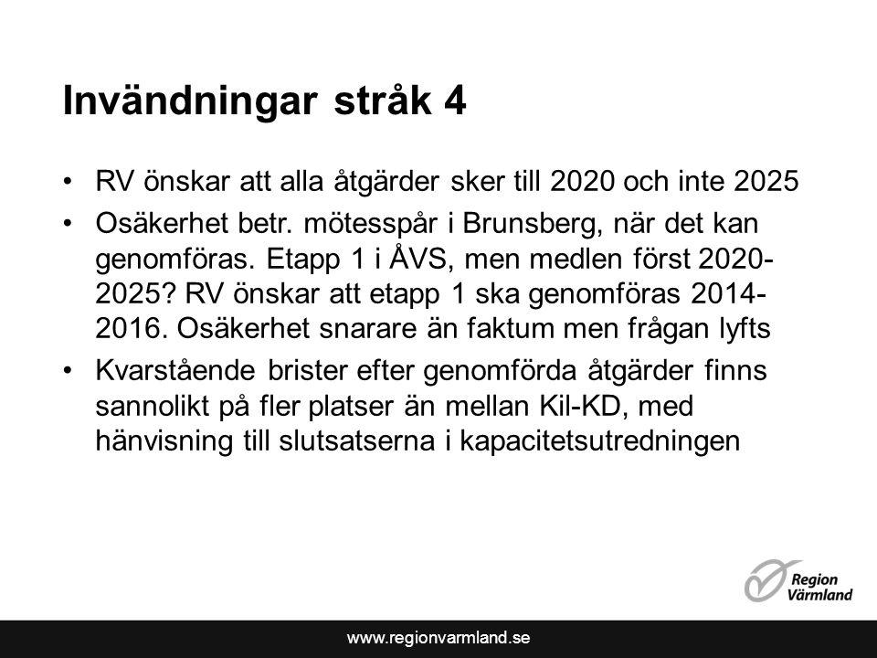 www.regionvarmland.se Invändningar stråk 4 •RV önskar att alla åtgärder sker till 2020 och inte 2025 •Osäkerhet betr. mötesspår i Brunsberg, när det k