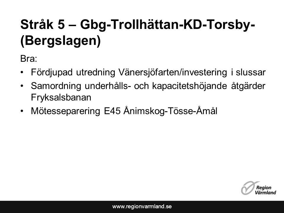 www.regionvarmland.se Stråk 5 – Gbg-Trollhättan-KD-Torsby- (Bergslagen) Bra: •Fördjupad utredning Vänersjöfarten/investering i slussar •Samordning und